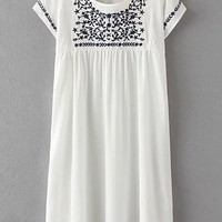 White Keyhole Back Embroidery Short Sleeve Dress