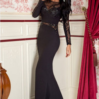 Black Lace Paneled Long Sleeve Evening Gown