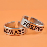 ALWAYS/FOREVER - Hand Stamped Aluminum Rings Set, Best Personalized Gift