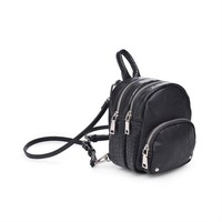 'ODESSA' Croc Embossed Mini Backpack - Black