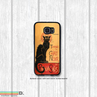 Chat Noir Black Cat Vintage Poster, Custom Phone Case for Galaxy S4, S5, S6