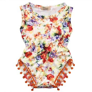 born Infant Kids Girl Floral Sleeve Romper Tassel Jumpsuit Baby Coming Home Outfits Sun suit