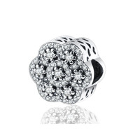 2016 Winter Style Crystalised Floral 925 Sterling Silver Charms Christmas Gift Fit Pandora Bead Charm Original Bracelet DIY