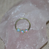 Septum Ring, Gold Blue 2mm Opal Nose Ring, Nose Hoop Earring, tragus/cartilage/helix piercing 20g nose studs 20 gauge