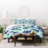 Lisa Argyropoulos Blueberries And Dots On White Duvet Cover