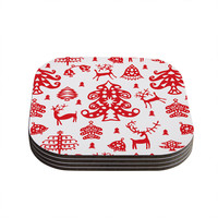 """Miranda Mol """"Frosted Landscape White"""" Red Holiday Coasters (Set of 4)"""
