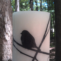 """Bird Silhouette Image 4"""" Tall Print Pillar Candle Scented Homegoods Decor Bohemian Decoration Cottage Chic  Home Nature Tree"""