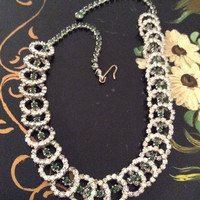 Art Deco Green Glass Necklace, Silver Tone, Vintage Jewelry, WINTER SALE