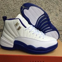 Air Jordan 12 Retro Aj 12 White/royal Blue Women Basketball Shoes | Best Deal Online
