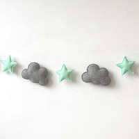 Cloud and Star Garland, Grey and Mint Green Garland, Nursery Banner, Nursery Decor, Baby shower gift, baby gift, baby decor, Nursery garland