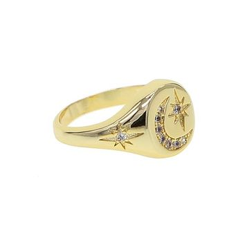 Moon Crest Engrave Ring