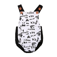born Baby Boys Girls Painting Romper scrawl button Jumpsuit Outfit Back-cross Sunsuit Clothes