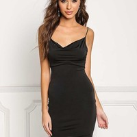 Black Draped Low Cut Back Bodycon Dress