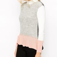 ASOS Jumper With Peplum & Cut About Detail