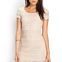 FOREVER 21 Crochet Lace Bodycon Dress Taupe