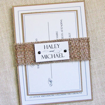 Rustic Burlap Belly Modern Country Wedding Invitation