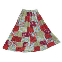 Mogulinterior Long Patchwork Skirt Red Printed Vintage Style Bohemian Hippie Gypsy Skirts
