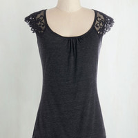 Mid-length Cap Sleeves Grace and Lace Top in Charcoal by ModCloth