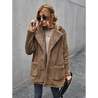 Lapel Neck Dual Pocket Teddy Coat