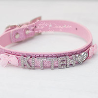 BDSM Pink Glam Bling Rhinestone & Bows Kitten Slave Day Collar Choker Pet Play Kitty Submissive Daddys Little Girl Petplay ABDL DDLG mature