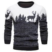 New Winter Christmas Sweater Christmas Tree Deer Print Mens Sweaters Casual O-Neck Male Pullovers Slim Sweaters Pull Men