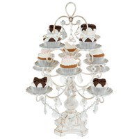 12-Piece Vintage Crystal-Draped Cupcake Stand (Whitewashed)