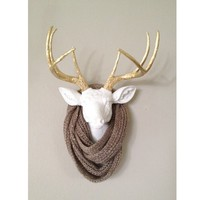 WHITE AND GOLD Faux Deer Head