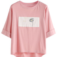 Rolled Sleeve Daisy Print High Low T-shirt
