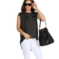 Promo- Gray Fluttery Lashes Tank