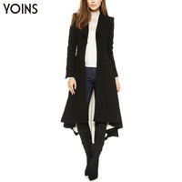 YOINS 2016 Black Long Lapel Blazer With Dovetail Slim Women Trench Coat Long Sleeve Overcoat Irregular Gothic Party Outerwear