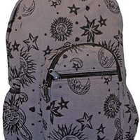 Sun Moon Planets and Stars Celestial Backpack (Gray)