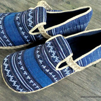 Mens Shoes in Indigo Batik and Ethnic Hmong Embroidery Earthy Vegan Loafers