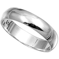 Unisex Plain Sterling Silver Wedding Band Ring - 5mm