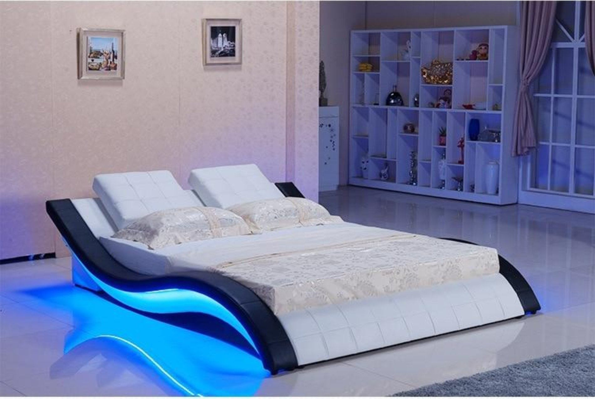 Image of Modern Led Bed With Sound System For Bedroom