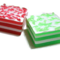 Peppermint Soap - Red and Green Soap - Holiday Soap - Christmas Soap - Winter Soap - Christmas Tree Soap - Royalty Soaps - Hostess Gift