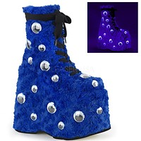 "Slay 206 Blue Fur Furry Monster 7"" Platform Ankle Boots 6-12"