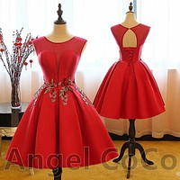 Cheap Evening Dress Short Evening Dresses Red Pink green embroidery Lace Saudi Arabia Party Bride Prom gown Formal prom dresses