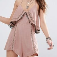 Kiss The Sky Festival Cami Playsuit With Coin Trim