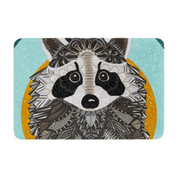 "Art Love Passion ""Racoon in Grass"" Gray Teal Memory Foam Bath Mat"