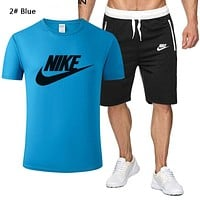 NIKE New fashion letter hook print top and shorts two piece suit men 2# Blue