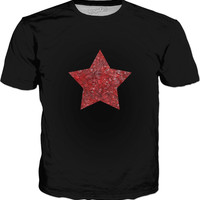 Red and black swirls doodles star Classic T-Shirt Black