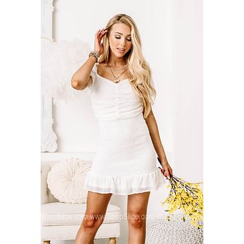 What An Occasion Rouched Smocked Mini Dress