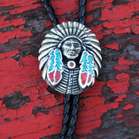 Vintage NATIVE AMERICAN Leather BOLO Tie Southwestern Indian Chief Turquoise Bolo Tie