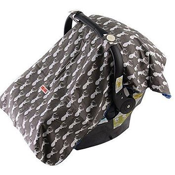 Baby Car Seat Cover for Boys – Carseat Canopy – Gray and Woodland White Deer Head with Blue Minky – Can Be Used As Nursing Cover, Blanket and Changing Pad