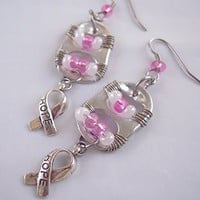Breast Cancer Awareness Pull Tab Charm Earrings Pink and White
