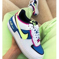NIKE Air Force 1 Shadow Trending Women Casual Sport Running Shoes Sneakers Blue&Yellow