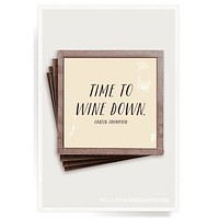 Time To Wine Down Copper & Glass Coasters, Set of 4