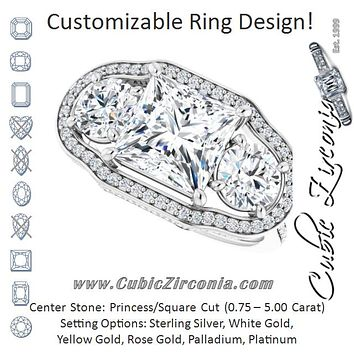 Cubic Zirconia Engagement Ring- The Iekika (Customizable 3-stone Princess/Square Cut Design with Multi-Halo Enhancement and 150+-stone Pavé Band)