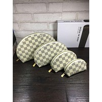 Louis Vuitton LV Fashion Women Shell Leather Purse Wallet Four-Piece Plaid Print Zipper Cosmetic Bag White I-MYJSY-BB