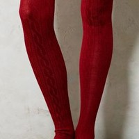 Cozy Cabled Tights by Tintoretta Red S/m Socks